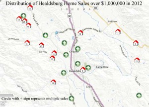 Map showing distribution of luxury home sales in Healdsburg