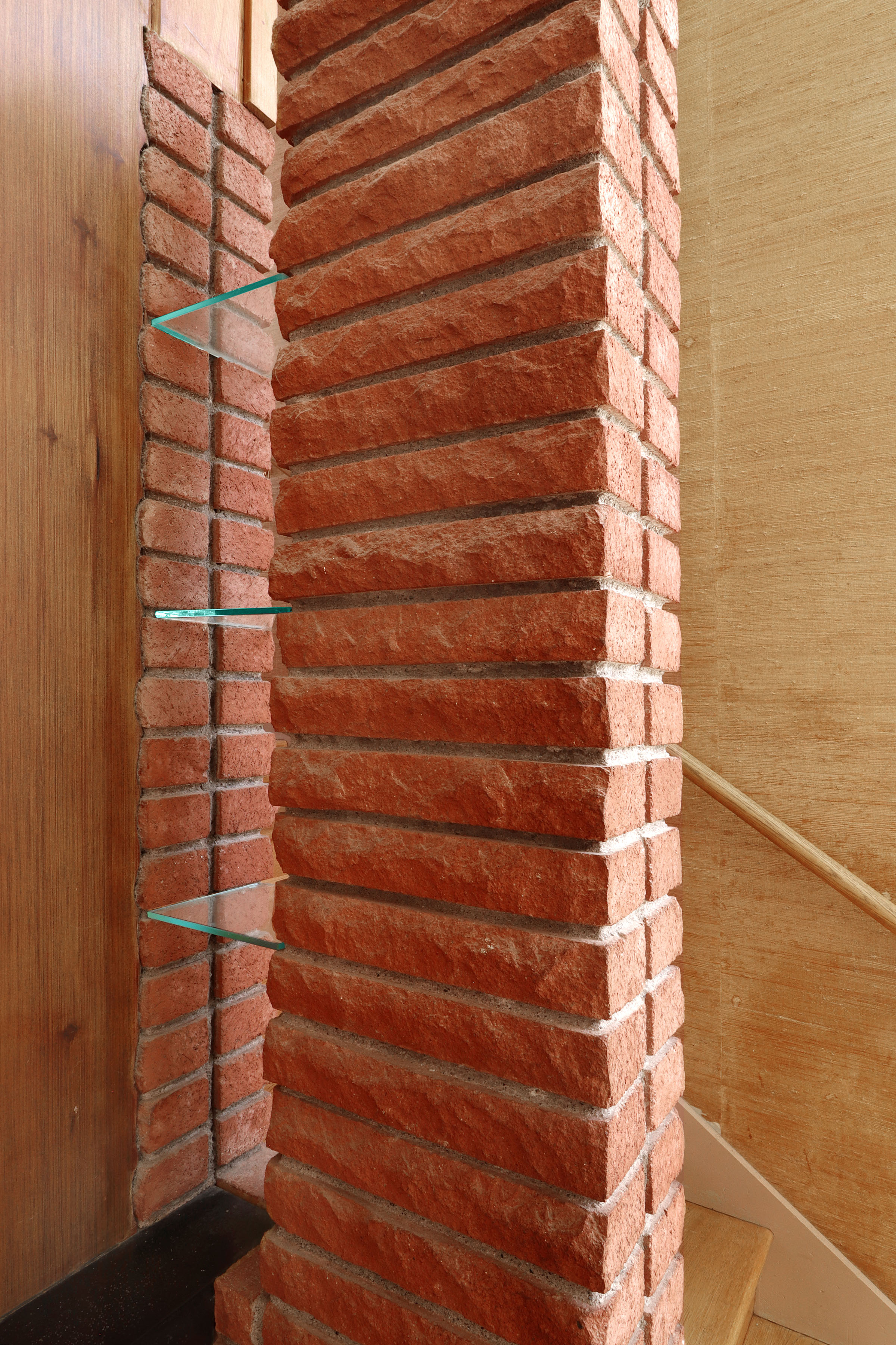 Fireplace Brick Piller with Glass Shelves